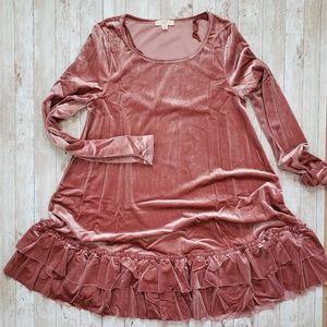 easel Dresses - Ruffle Bottom Velvet Pink Dress Long Sleeve